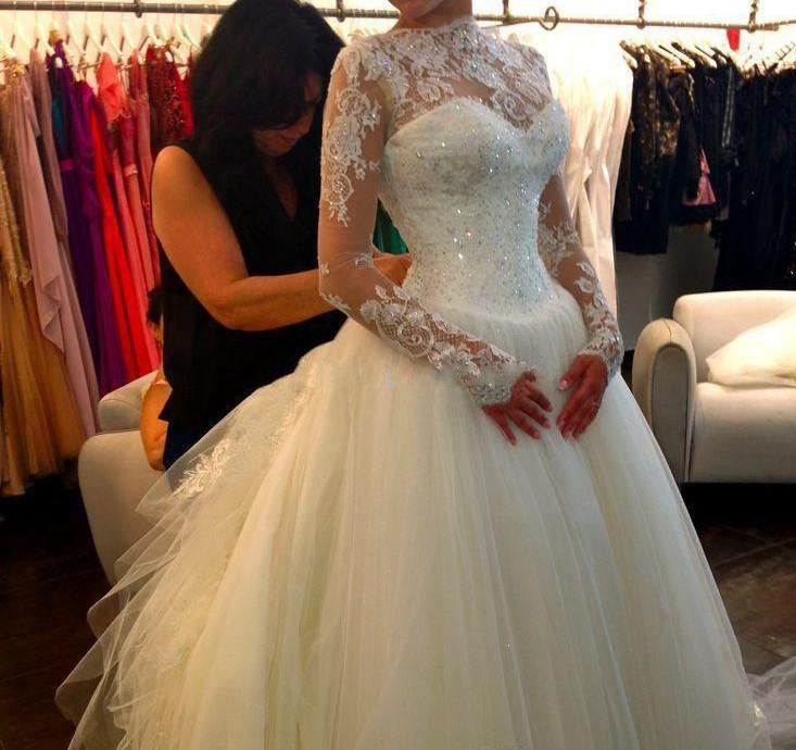 Elegant Wedding Dresses Full Sleeves Gowns Floor Length Bridal Gown Tulle Lace